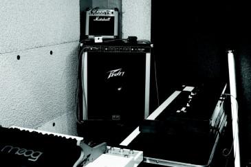Bruce Ledingham's somewhat crowded rehearsal corner