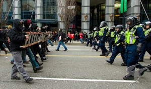 Members of the Black Bloc Coalition meet with the Vancouver Police