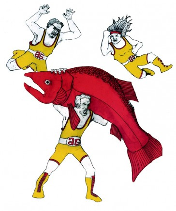 Apollo Ghosts fighting a giant salmon. Illustration by Tyler Crich