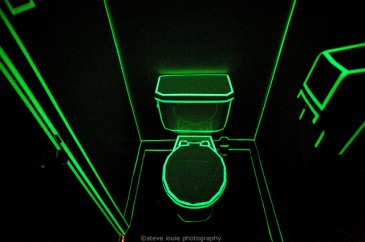 A Tron-themed washroom @ the Local Library - part of Sled Island Art by Steve Louie