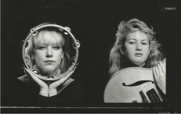 The Hip Type, 1987 (photo by Neil Lucente)Tracy Brooks (left, lead vocals) andErica Leiren (right, bass and backup vocals.)