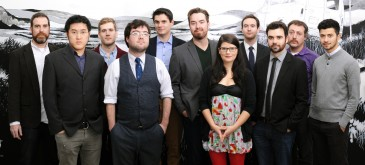 The Instant Theatre company, left to right: Alistair Cook, Andrew Chen, Brian Cook, Warren Bates, Shawn Norman, Brad MacNeil, Nicole Passmore, Tyler Cheyne, Adam Pateman, Marcel Perro, and Nima Gholamipour. Missing from the photo but part of the company: Ember Konopaki, Briana Rayner, Lauren McGibbon, and Cameron MacLeod. photo by Dylan Maher
