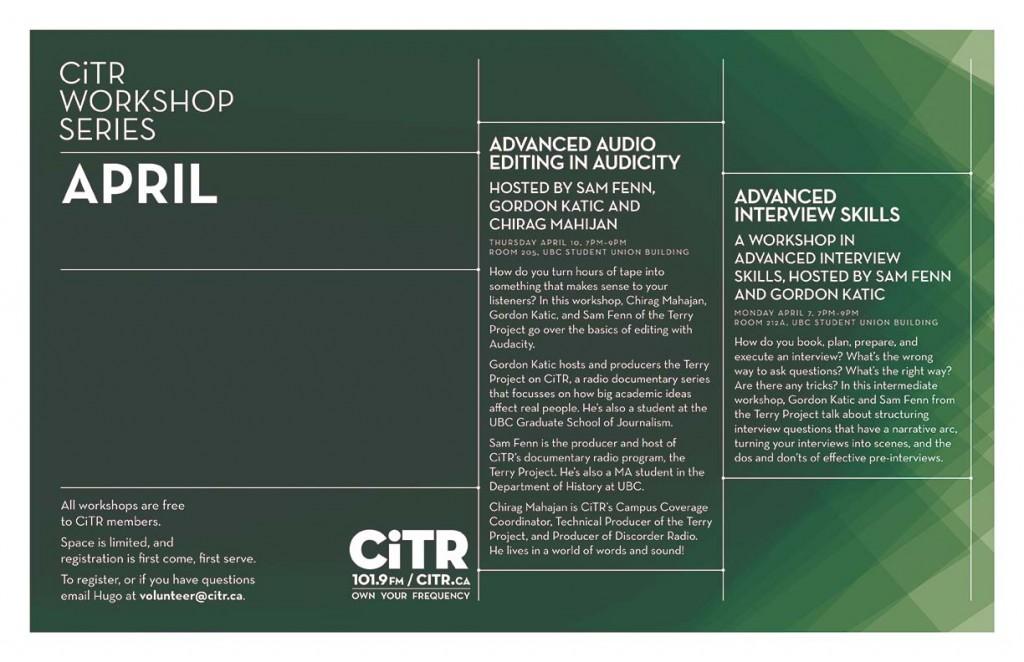 CiTR April Workshops!