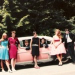 The Debutantes posing in front of Erica's pink caddy || photo by Dave Jacklin