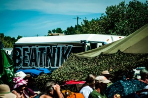 Peekaboo! View of the Beatnik Bus from in front of the East Stage || Photography by Luis E. Busca for Discorder Magazine