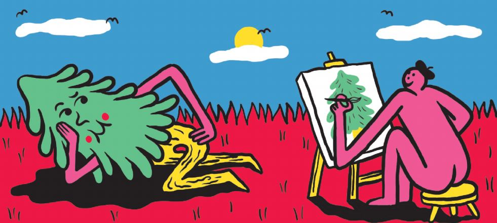 an evergreen lounges and poses seductively for a naked pink figure in a black beret on a bed of dark pink grass in front of a blue sky with three small white clouds, four small birds, and a nestled sun. the pink figure sits on a low yellow stool and paints a plain and traditional evergreen on a bulky white canvas on a yellow, wooden easel.