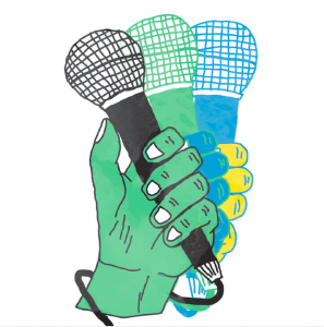white background. a green hand waves a microphone from the right of the frame to the left in 3 stills. the hand transitions from yellow, to blue, to green; the microphone transitions from blue, to green, to black. the cord is wrapped around the hand's wrist.