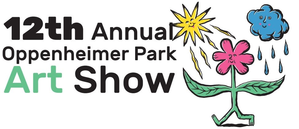 "(black text on white background; ""Art"" mint green text on white background) ""12th Annual Oppenheimer Park Art Show""; A silly smiling yellow sun sits on the right shoulder of a jaunting pink flower with mint green leaves and legs while a vacant but pleased blue rain cloud with small pink cheeks drops 5 droplets onto the flower's left shoulder"