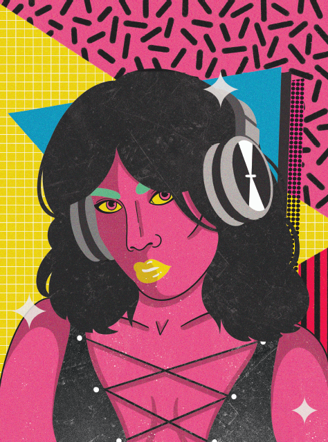 cartoon style: a woman's head and shoulders are centered on a 80s style geometric background of yellow, blue, and pink triangles; the woman makes direct eye contact with the viewer. she is wearing headphones and her head is tilted slightly down and to the left. she has pink hair, green eyebrows, and yellow lips. she is dynamic and striking.