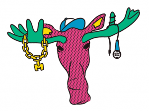 "the head of a pink moose with green antlers is wearing a blue baseball hat with a gold chain with an ""M"" pendant on its left antler and a blue microphone wrapped around the right one."