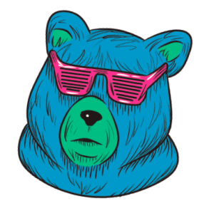 the head of a blue bear with a green snout is wearing pink kanye circa 2007 (i.e., shutter shades) sunglasses