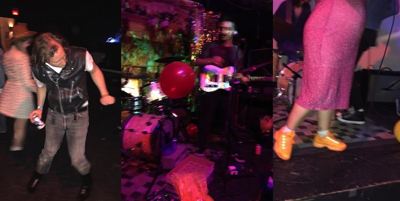 3 photographs placed in a grid next to each other. LEFT - a man dancing with his head down, people are blurred and dancing around him; CENTER - a blurry musician hold a guitar and stands to the right of a balloon being blown in the air over a small heating vent; RIGHT - the bottom half of a performer stands on stage wearing a sparkled pink dress and bright orange Fila sneakers with drums in the background