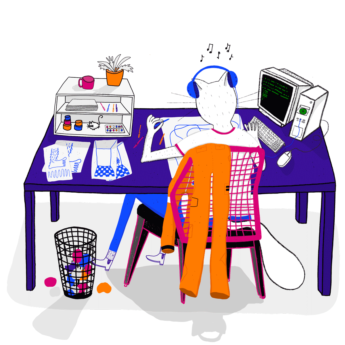 illustration of the behind view of a cat sitting in a chair at a desk drawing, surrounded by various things such as a desktop computer, other pages of drawings, and drawing tools. the iconic orange spacesuit that shitlord fuckerman performs in is draped over the backrest of the chair.