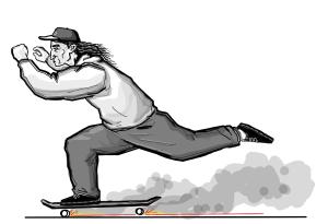 black and white illustration of Joe Buffalo skating.