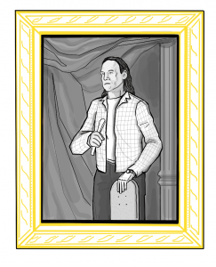 illustration of a black and white portrait of Joe Buffalo in a gold frame.