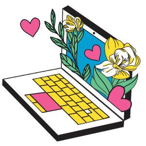 illustration of a laptop with flowers and hearts coming out of the screen.
