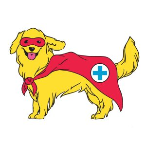 illustration of a dog with a superhero-esque red eye mask and a red cape with a cross on it indicating it is a service dog.