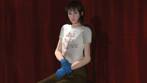 "3D rendered self portrait by Olivia Dreisinger where she is sitting in a chair in front of a red curtain wearing blue latex gloves and a t-shirt that says ""hold abuse accountable""."