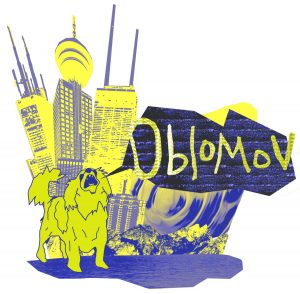 "yellow and blue illustration with a dog howling ""Oblomov"" in a speech bubble standing in front of skyscrapers and mountains."