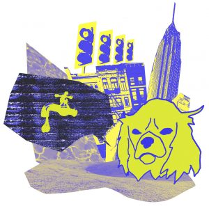 yellow and blue illustration with a dog's head and cut-outs of various images, including traffic lights, the empire state building, and a dripping tap.