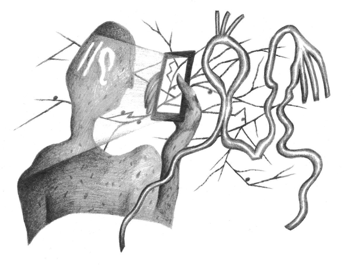 black and white illustration of a person looking at their phone