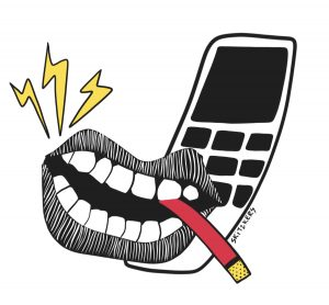 illustration of a mouth with a cigarette pressed up against a cellphone.