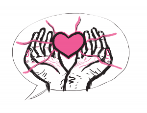 illustration of a speech bubble with open hands holding up a floating pink heart inside the speech bubble.