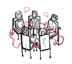 illustration of five people sitting in a circle and speaking.
