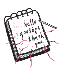 """illustration of a notepad and a pencil. on the notepad the word """"hello,"""" """"goodbye"""" and """"thank you"""" are written."""