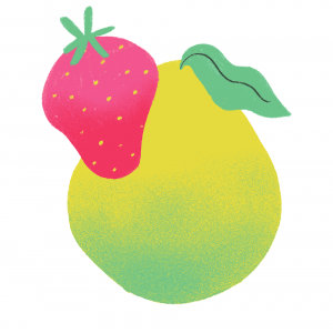 illustration of a green pear and a strawberry