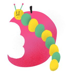 illustration of a yellow and green caterpillar in front of a half eaten red apple.