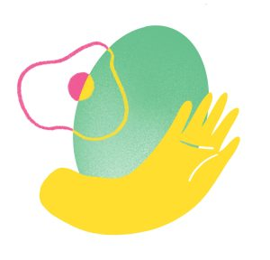 illustration of a hand in front of a green oval and a pink and yellow squiggly shape.