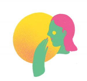 an illustration of the side silhouette of a green woman's head with pink hair in front of a yellow circle.