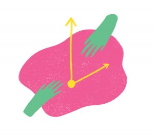 illustration of a squiggly pink shape with yellow clock hands on it and two green human hands.