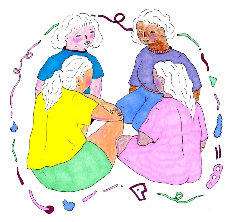 An illustration of 4 femme presenting figures sitting and facing each other. The figure in the top left is talking while the others listen. The figures are surrounded by multicolored doodles containing the illustration in its own, intimate bubble.