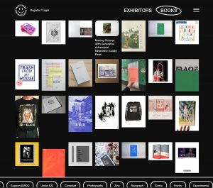 screen grab from the VABF 2020 website displaying a catalogue of all that is available from the exhibitors.